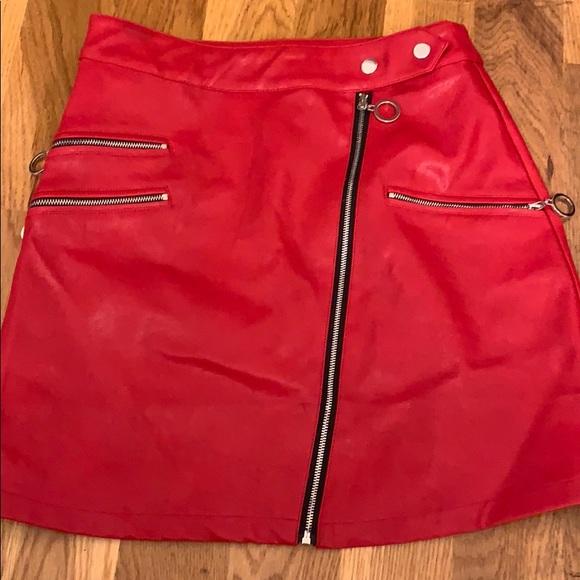NUDE Dresses & Skirts - Red Leather Miniskirt